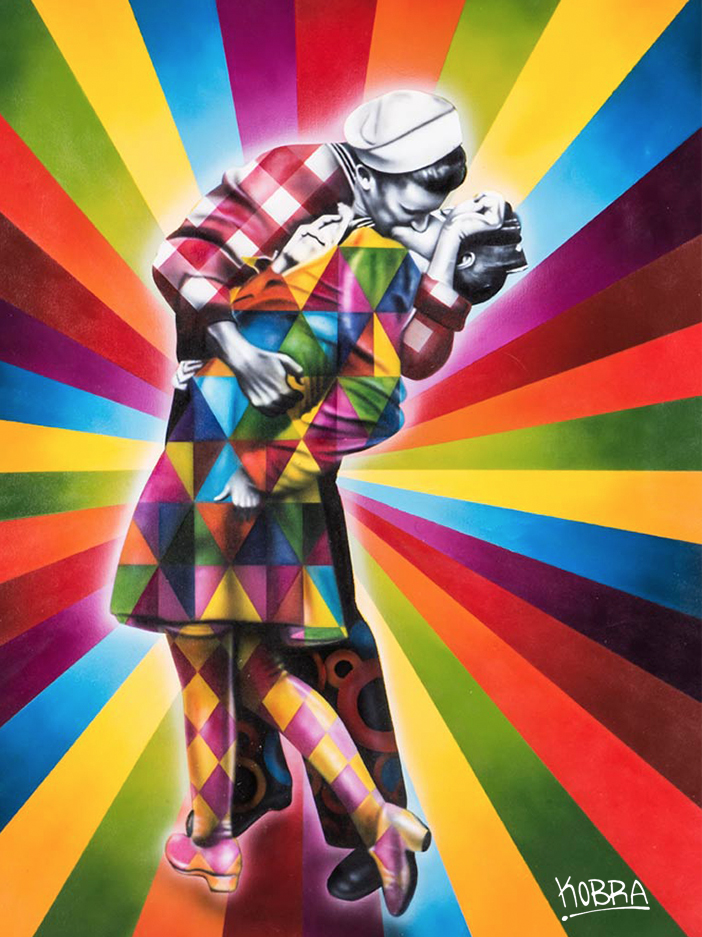Adesivo Street Art vj day in times square analysis High Line Elevated Park, NEW YORK pintado por Eduardo Kobra na Chelsea