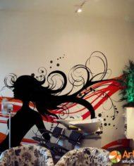 Adesivo Mulher Cabelos ao Vento by Arte na Cara! preto, laranja e vermelho