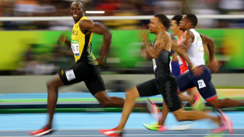 Usain Bolt 2016, 100 metros, Jogos Olímpico. Foto por Cameron Spencer, Getty Images
