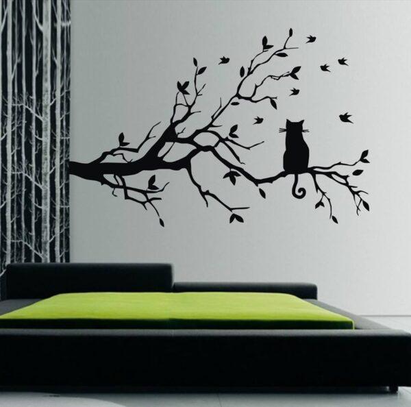 Adesivo-galhos-pássaros-e-gato-sentado-arvore-artenacara